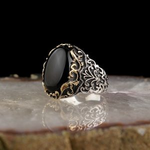 925 Sterling Silver Classic Onyx Stone Men's Ring