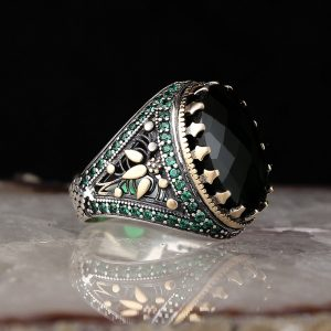 925 Sterling Silver Green Zircon Stone Men's Ring