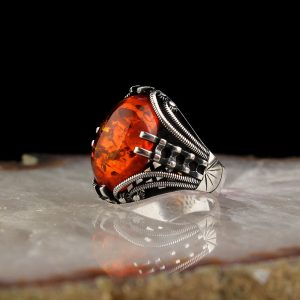 925 Sterling Silver Unique Red Amber Stone Men's Ring