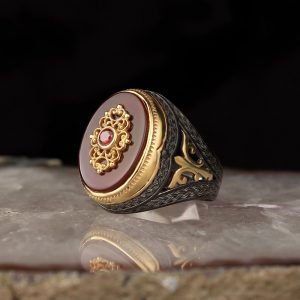 925 Sterling Silver Red Onyx Stone Men's Ring