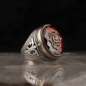925 Sterling Silver Red Zircon Stone Men's Ring