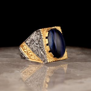 925 Sterling Silver Blue Tiger Eye Stone with Gold Color Men's Ring