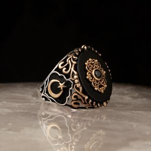 925 Sterling Silver Elegant with Logo of the Crescent and the Star Black Onyx Stone Men's Ring