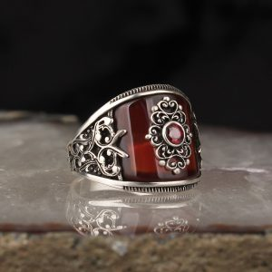 925 Sterling Silver Red Curved Onyx Stone Men's Ring