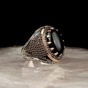 925 Sterling Silver Unique Onyx Stone with Micro Zircon Men's Ring