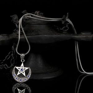 925 Sterling Silver Crescent Moon and Star Men's Necklace