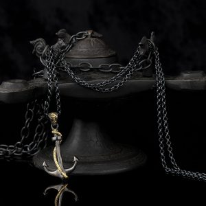 925 Sterling Silver Anchor Pattern Men's Necklace