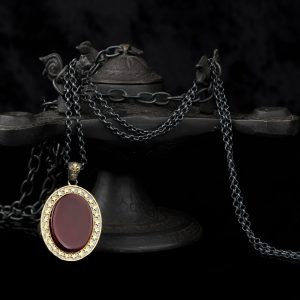 925 Sterling Silver Agate Stone Men's Necklace