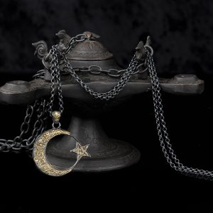 925 Sterling Silver The crescent Moon and Star Men's Necklace