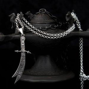 925 Sterling Silver Zulfiqar Sword Star Men's Necklace