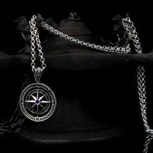 925 Sterling Silver Compass Shape Blue Zircon Stones Men's Necklace