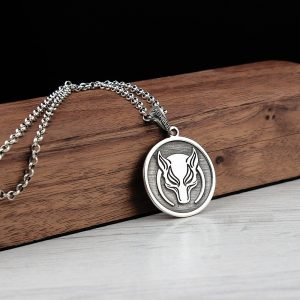 925 Sterling Silver Fox Face Men's Necklace