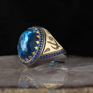 925 Sterling Silver Unique Vintage Blue Zircon Stone Men's Ring