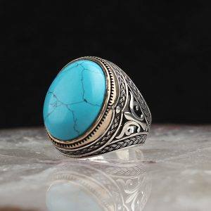 925 Sterling Silver Turquoise Stone Men's Ring