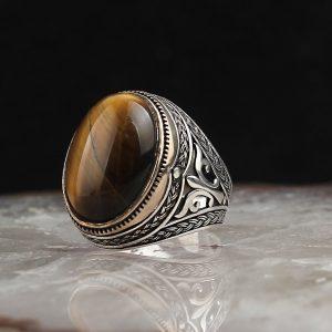 925 Sterling Silver Tiger Eye Stone Men's Ring