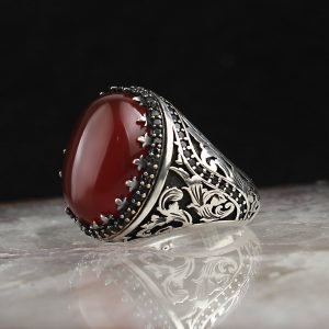 925 Sterling Silver Red Agate Stone Men's Ring