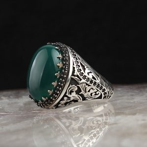 925 Sterling Silver Green Agate Stone Men's Ring