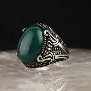 925 Sterling Silver Green Agate Stone With Sword Shape Men's Ring