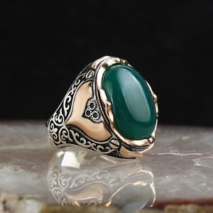 925 Sterling Silver Agate Stone Men's Ring