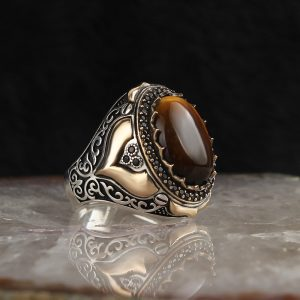 925 Sterling Silver Special Design Tiger Eye Stone Men's Ring