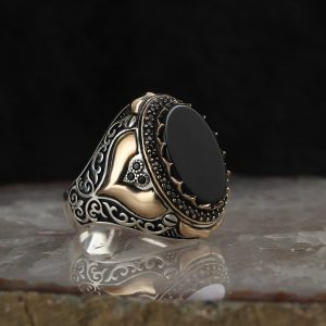 925 Sterling Silver Special Design Onyx Stone Men's Ring