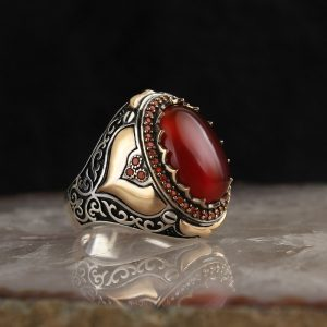 925 Sterling Silver Special Design Red Agate Stone Men's Ring