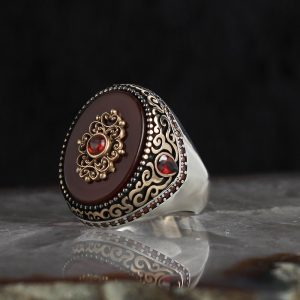 925 Sterling Silver Unique Red Agate Stone Men's Ring