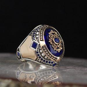 925 Sterling Silver Unique Blue Zircon Stone Men's Ring