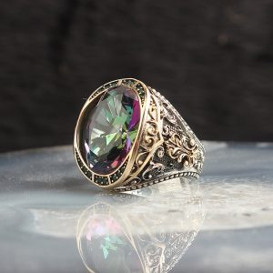 925 Sterling Silver Amazing Mystic Topaz Stone Men's Ring