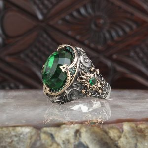 925 Sterling Silver Vintage Special Design Green Zircon Stone Men's Ring