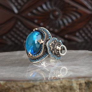 925 Sterling Silver Vintage Blue Zircon Stone With Lion Logo Men's Ring