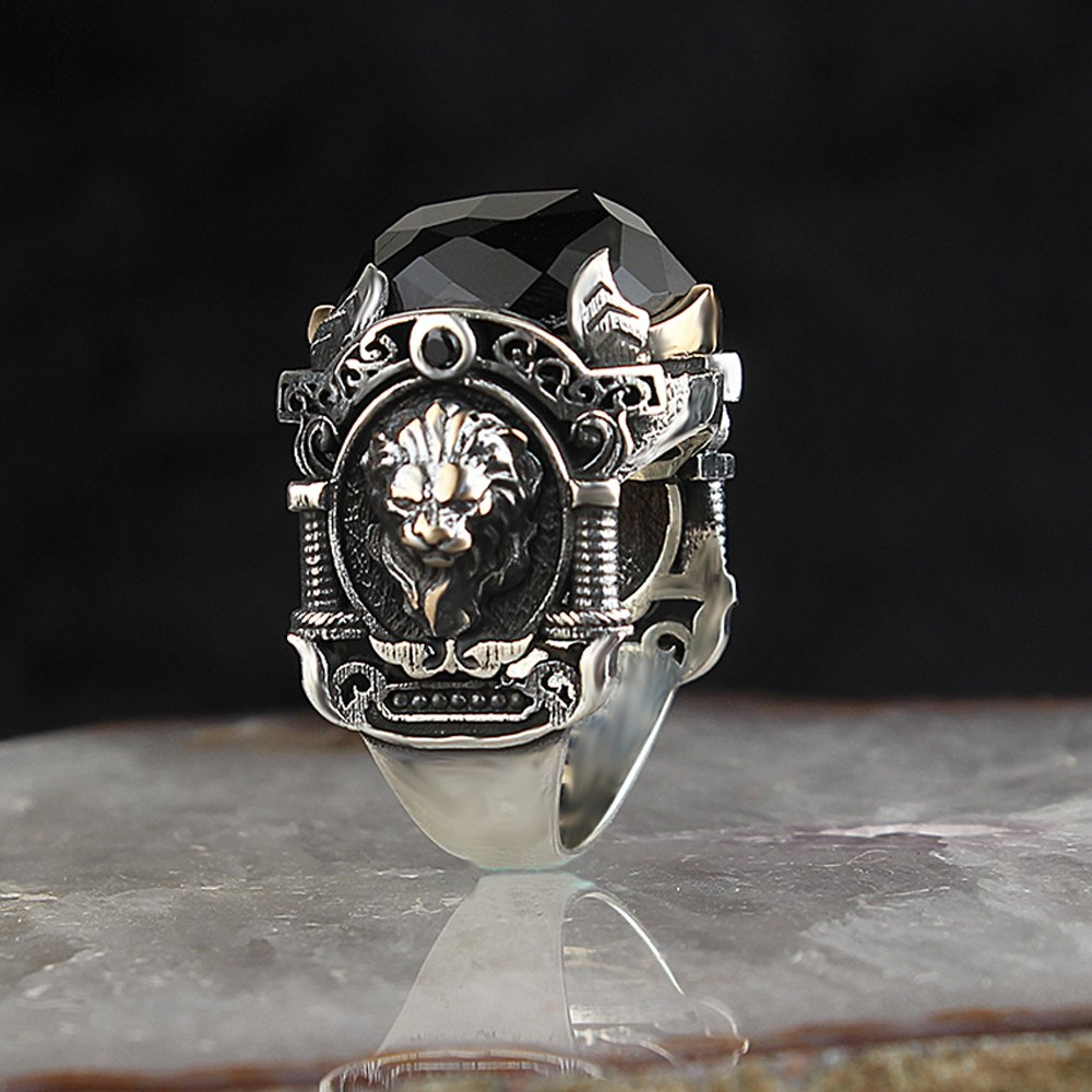 925 Sterling Silver Special Design Black Zircon Stone With Lion Logo Men's Ring