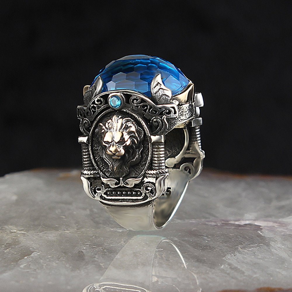 925 Sterling Silver Special Design Blue Zircon Stone With Lion Logo Men's Ring