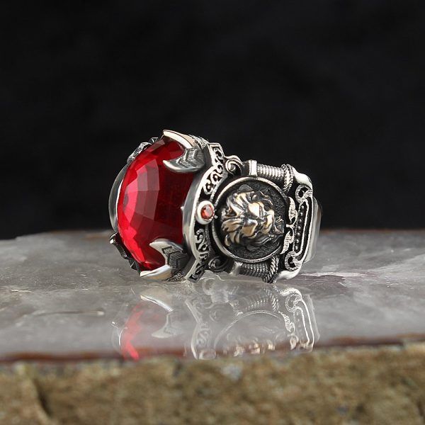 925 Sterling Silver Special Design Red Zircon Stone With Lion Logo Men's Ring