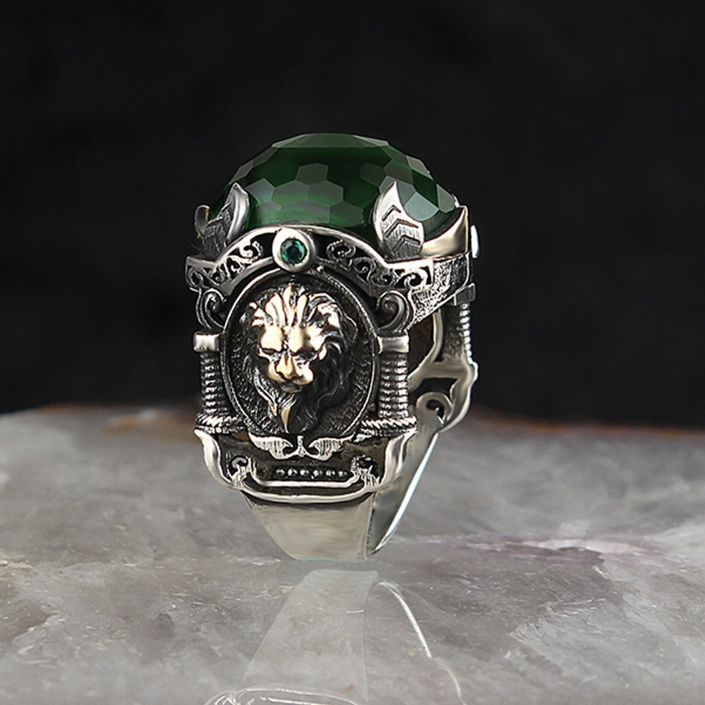 925 Sterling Silver Special Design Green Zircon Stone With Lion Logo Men's Ring