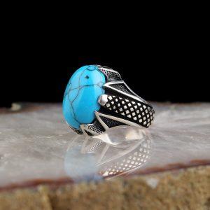 خاتم فضة عيار 925 مرصع الفيروز الرائع المميز بتصميم مميز