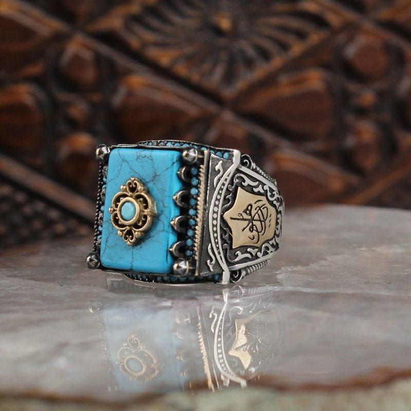 خاتم فضة عيار 925 مرصع بالفيروز الرائع المميز