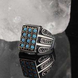 خاتم فضة عيار 925 مرصع الفيروز الرائع