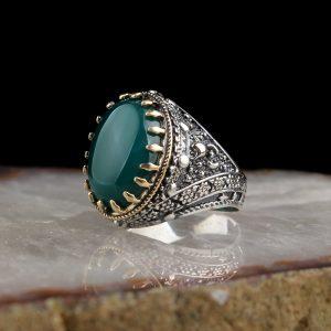 خاتم فضة عيار 925 مرصع بحجر العقيق الأخضر