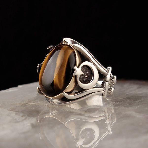 خاتم فضة عيار 925 مرصع بحجر عين النمر شعار الهلال والنجمة