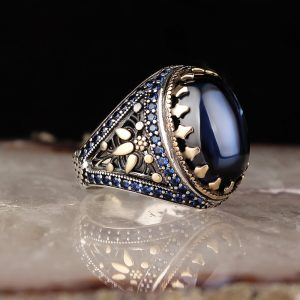خاتم فضة عيار 925 مرصع بحجر زيركون الازرق