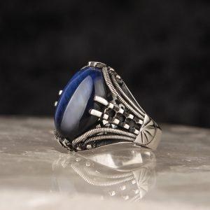 خاتم فضة عيار 925 مرصع بحجر زيركون الازرق المتألق