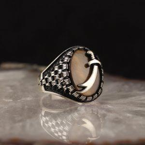 خاتم فضة عيار 925 مرصع بحجر عين النمر مع سيف ذو الفقار