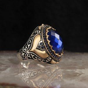 خاتم فضة عيار 925 مرصع بحجر الزيركون ازرق