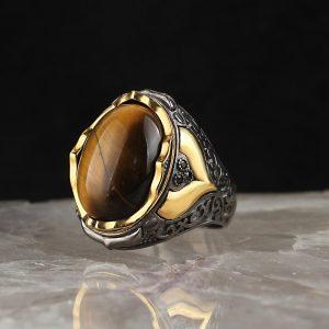 خاتم فضة عيار 925 مرصع بحجر عين النمر مطلي