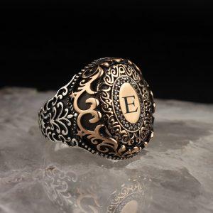 خاتم فضة عيار 925 مع نقش حرف