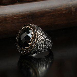 خاتم فضة عيار 925 مرصع بحجر الزيركون