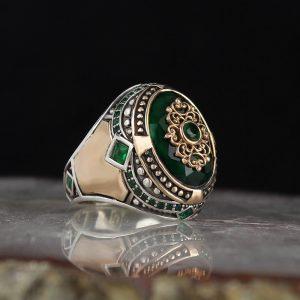 خاتم فضة عيار 925 مرصع بحجر الزيركون الاخضر