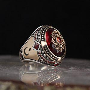خاتم فضة عيار 925 مرصع بحجر الزيركون مع نجمة وهلال