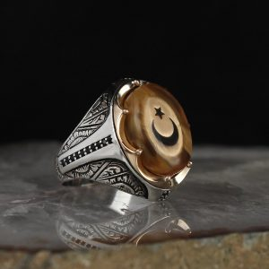 خاتم فضة عيار 925 مرصع بحجر الكهرمان مع نجمة وهلال